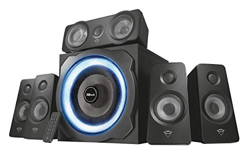Trust Gaming GXT 658 Tytan 5.1 Luidsprekerset met Surround Sound en Subwoofer (180W, LED verlichting, PC en Laptop) Zwart