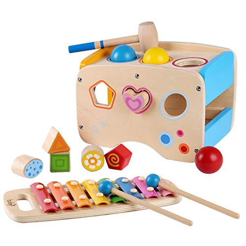 Joyshare 3 in 1 Pounding Bench Xylophone and Shape Toys - Educational Matching Blocks multifunctionla Early Educational Set Bepresent for Age 2 3 Years Old and Up Kid Children Baby Toddler Boy Girl