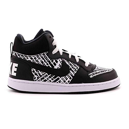 NIKE Boys' Court Borough Mid Print (GS) Basketball-Shoes, Black/Black/White/White, 6.5 M US Big Kid