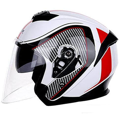 Motocicleta de Cara Abierta Casco de Moto,3/4 Casco Moto Jet Retro,ECE Homologado Casco Moto Jet Abierto,Half Helmet Con Visera Solar Doble,Aire Libre Ciclismo Seguridad Helemt E,XL=61~62cm