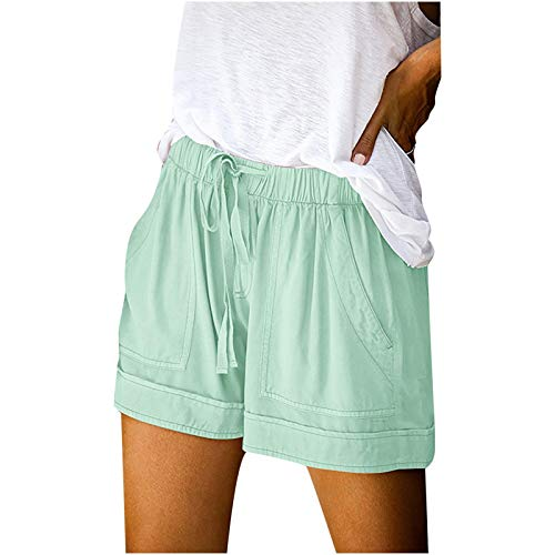 LowProfile Casual Loose Shorts for Women Summer Plus Size, Comfortable Lounge Pants Roll-Up Hem Workout Short, S-5XL Mint Green