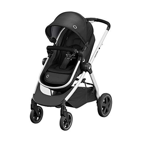 Maxi-Cosi Zelia Buggy, sehr leichter und praktischer 2-in-1 Kinderwagen, der Sitz wandelt sich in eine Babywanne, nutzbar ab der Geburt bis ca. 4 Jahre, (max. 22 kg), Essential Black