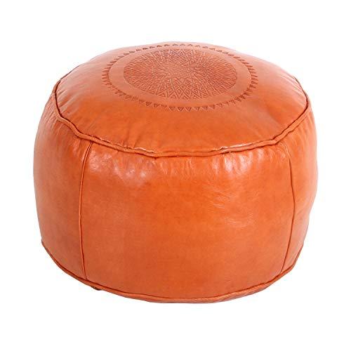 Casa Moro Orientalisches Leder-Sitzkissen Pouf Rachida Orange rund Durchmesser 42 cm x Sitzhöhe 30 cm inklusive Füllung | Kunsthandwerk aus Marrakesch | MO4261