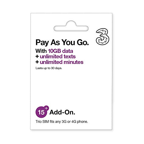 Three 10GB Data Pay As You Go SIM