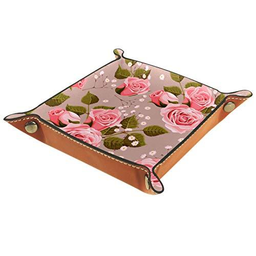 ZDL Caja de almacenamiento vintage con diseño de rosas rosas, organizador para llaves, teléfono, monedas, relojes, etc. 20.5 x 20.5 cm