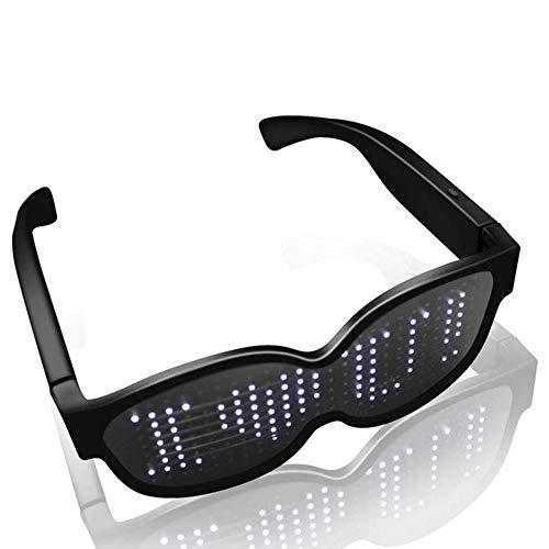 SUNSEATON Gafas de Fiesta LED, 8 Modos de Destellos, Recargables y de 10 Horas de Trabajo, Gafas de Fiesta Brillantes, adecuadas para cumpleaños, Bares, Discotecas, conciertos, reuniones de Fans