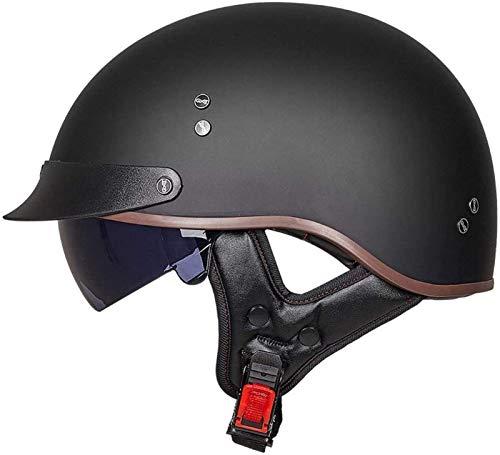 Casco Moto Abierto Jet Retro, Casco Moto Jet Para Mujer Y Hombre,Adultos Para Mujer Hombre,Dot Homologado- black,L=57-58cm
