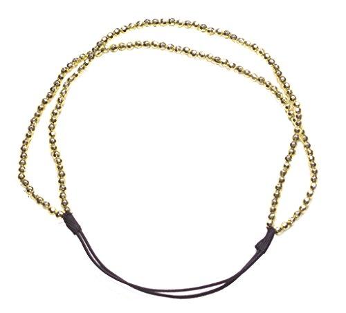Disco Beleuchtung, Opulente Dual Golden Perlen Strand & Dehnbar Haar Band (zx241)