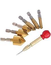 Broca Avellanado, 6+1 Piezas Herramienta de Perforación Central, Brocas Avellanadoras de VáStago, Brocas Avellanadoras para Metal, para Madera Metal Cambio Rápido Bit 6/8/9/12/16/19mm