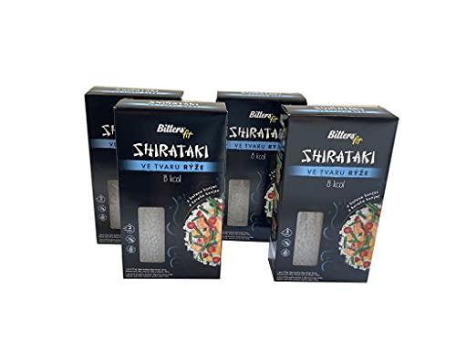 BITTER Shirataki PASTA - riso a forma, 4 x 390 grammi, shirataki konjac, senza glutine, 4 pack