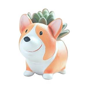 Cuteforyou Cute Animal Shaped Cartoon Home Decoration Succulent Vase Flower Pots (Corgi Dog)