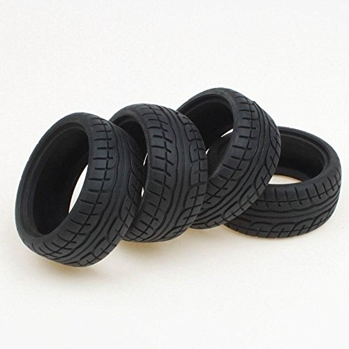 Shaluoman Soft Rubber Tires Tyre for RC 1:10 On Road Car Pack of 4