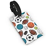 Football Basketball Baseball Small Luggage Tags for Suitcases PVC Travel Bag Tags Eaiser to Identify Name ID Labels and Address Card