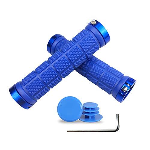 PLATT Fahrrad Lenkergriffe Anti-Rutsch Gummi Griffe Fahrradgriffe für MTB BMX Trekkingrad mit Kunststoff-Endkappen,Blau