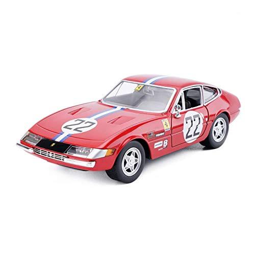 hclshops Coche Modelo de Coche 1:24 Ferrari 365 GTB4 Simulación de aleación de fundición Adornos de Juguete Sports Car Collection 19x8x5CM joyería