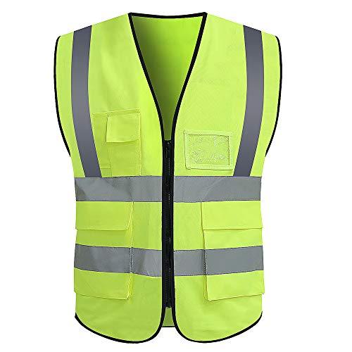VICRR High Visibility Safety Vest with Reflective Strips Pockets, Work Vest for Men & Women