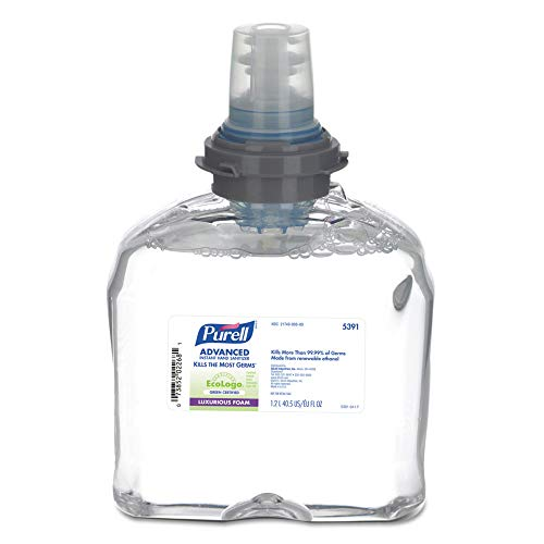 PURELL 5391-02 Tfx Green Certified Instant Hand Sanitizer Foam Refill, 1200ml, Clear