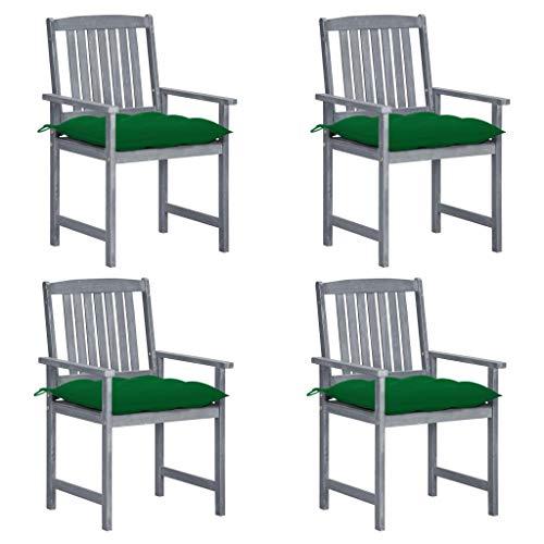 vidaXL 4 x Acacia Wood Solid Director's Chair with Cushion Garden Chair Patio Chair Camping Chair Garden Furniture Grey
