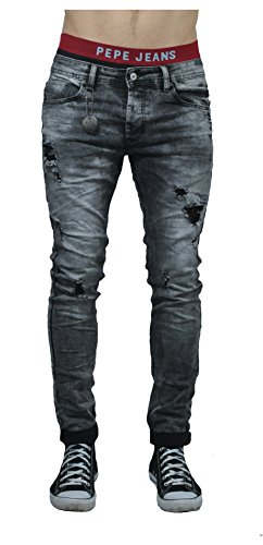 Project X Paris Herren Skinny Jeans Denim Biker Jogg Hose Variationen Stretch (W36, 915 GY)