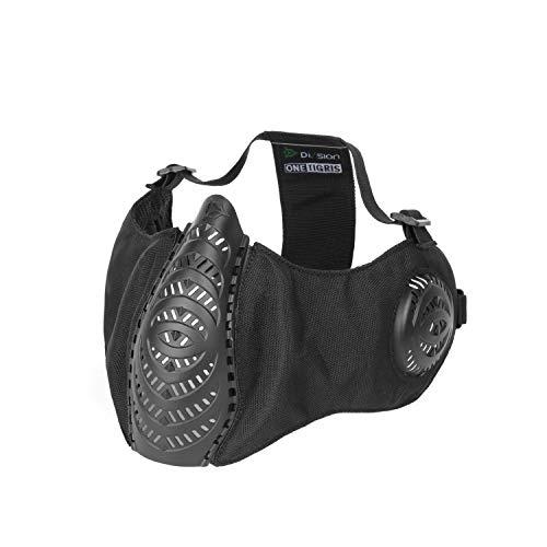 OneTigris X Division SIXrsoft Faltbar T'Farge® Aie halbe Maske Mesh Gesichtsmaske mit Ohrenschutz (Schwarz)  MEHRWEG Verpackung