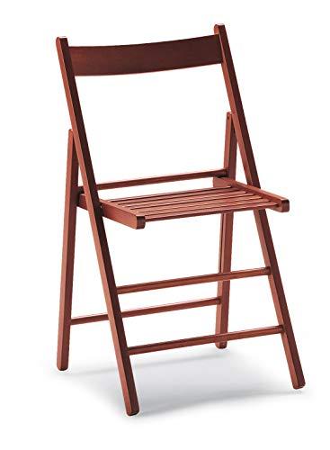 Lot de 4 chaises pliantes pour brasserie, camping, maison, jardin, en bois massif (cerisier)