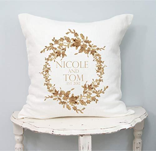 Funda de almohada de corona de boda, lino, regalo de matrimonio, almohada personalizada para parejas, compromiso personalizado, despedida de soltera
