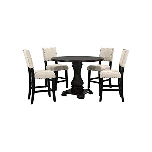 Furniture of America Kabini Wood Counter Height Dining Table in Antique Black