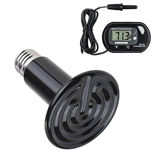 POFET Lámpara de calor para reptiles de 100 W con un termómetro digital, emisor de lámparas sin luz de calefacción de cerámica infrarroja 220-230 V (negro)