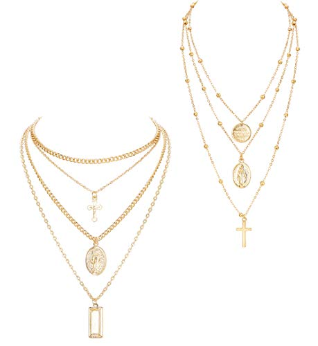 ORAZIO 2PCS Layered Necklace for Women Girl Cross Blessed Virgin Mary Pendant Necklace Chain Gold Tone