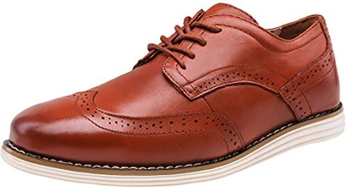 Jousen Men s Dress Shoes Oxblood Leather Brogue Wingtip Oxford Shoes Business Casual Shoes for Men(13 Oxblood)