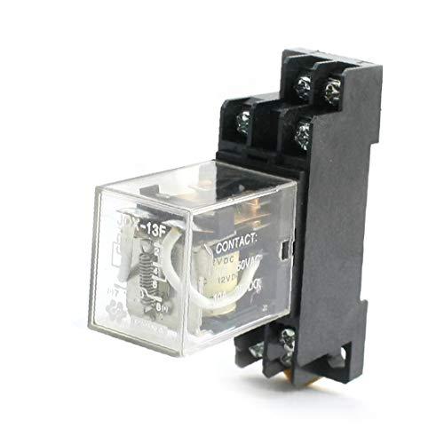X-DREE DC 12V 2P2T 8Pin Motor Control Electromagnetic Power Relay w Socket(DC 12V 2P2T Relé de potencia electromagnética de control de motor de 8 pines con zócalo