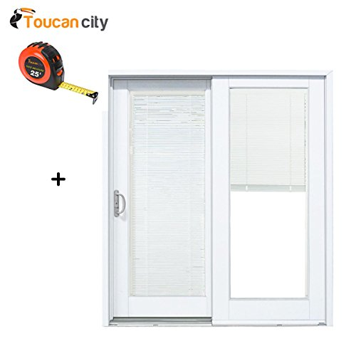 Toucan City Tape Measure and MP Doors 60 in. x 80 in. Smooth White Left-Hand Composite Sliding Patio Door with Built in Blinds G5068L002WL