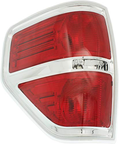 Tail Light Lens and Housing Compatible with 2009-2014 Ford F-150 Styleside Chrome trim Driver Side