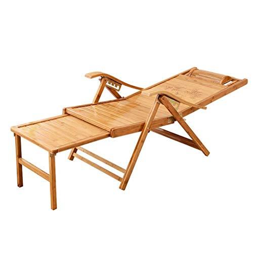 RUIMA Klappstuhl Bambus-Liegefläche, tragbare faltende liegende verstellbare Liege Liege Liegeplatz im Freien Patio, Holzfarbe