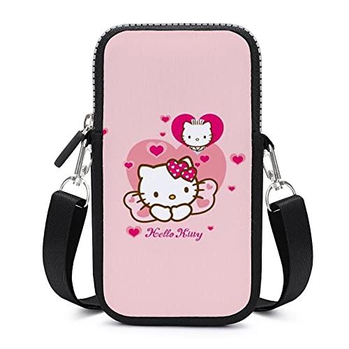 Hello Kitty Cartoon Anime Lindo Gato Crossbody Teléfono de las Mujeres Bolso de Teléfono Teléfono Celular Crossbody Bolso de Hombro Monedero Monedero