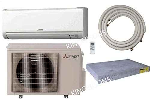 Mitsubishi 12,000 BTU SEER 16 Wall Mount Ductless Mini-Split Inverter Cool & Heat Pump System 1Ton Energy Efficient with 15 ft Lines & Condenser Pad