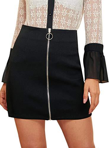 WDIRARA Women's Elegant Above Knee Solid O-Ring Zipper Front Mini Pencil Skirt Black XL
