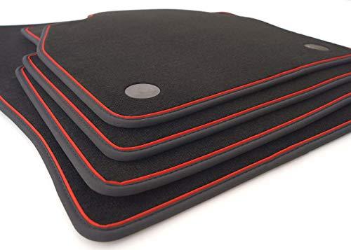 kh Teile Fußmatten Clio 5 (Schwarz/Rot) RS Tuning Premium Automatten Zubehör, Velours 4-teilig