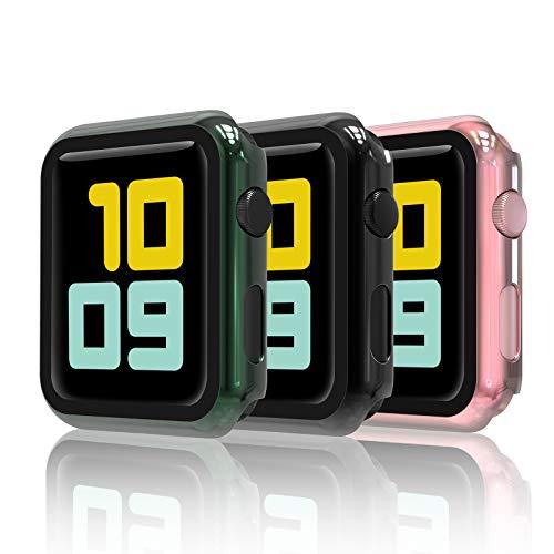 Hianjoo [3-Pack Cover con Vetro Temperato Compatibile per Apple Watch 38mm, Custodia Pellicola Proteggi Schermo Compatibile on Apple iWatch 38mm Series 3/2/1 - Nero, Oro Rosa, Verde