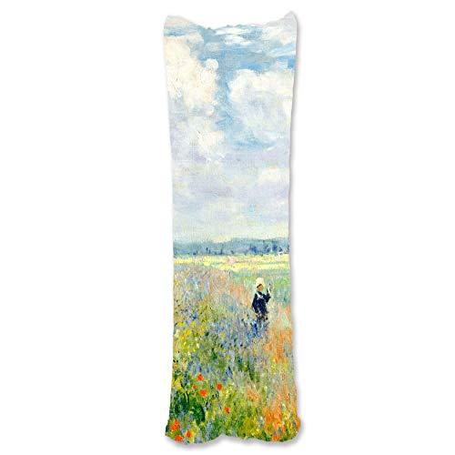 BONNIU Funda Decorativa Cojin con Cremallera 50X135 cm Protectores Almohada Terciopelo Paisaje Dakimakura Cover - Monet - Campo De Amapolas Argenteuil 1875