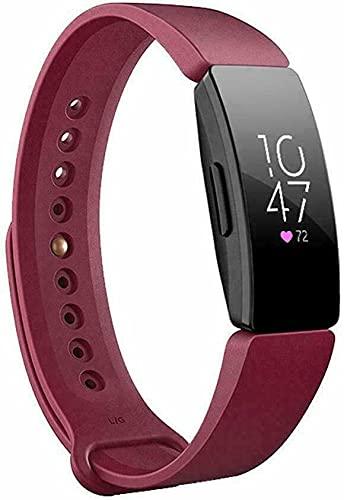 Compatible con Fitbit Inspire/HR/Ace 2 de silicona de repuesto de correa deportiva (color: rojo vino)