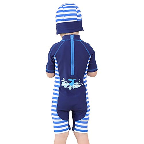 Biofieay Baby Boys Swimsuit One Piece Shortsleeve Swimwear UV Protection with Swimming Cap, 2-3 years old, Blue