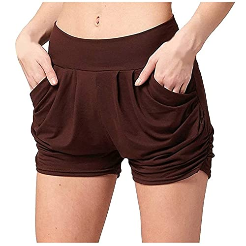 N\P Women Short Pant Casual Lady Loose Soft Female Workout Stretch Shorts Coffee