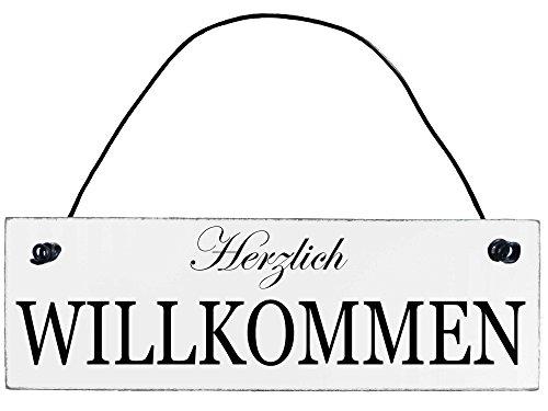 Anika Hermsen-Grallert, HomeYourself Shabby Chic Vintage Schild Herzlich Willkommen Dekoschild Türschild