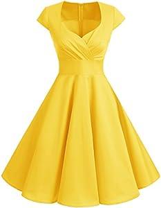 Bbonlinedress Vestido Corto Mujer Retro Años 50 Vintage Escote En Pico Yellow M