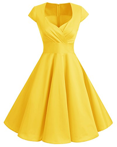 bbonlinedress 1950er Vintage Retro Cocktailkleid Rockabilly V-Ausschnitt Faltenrock Yellow XS