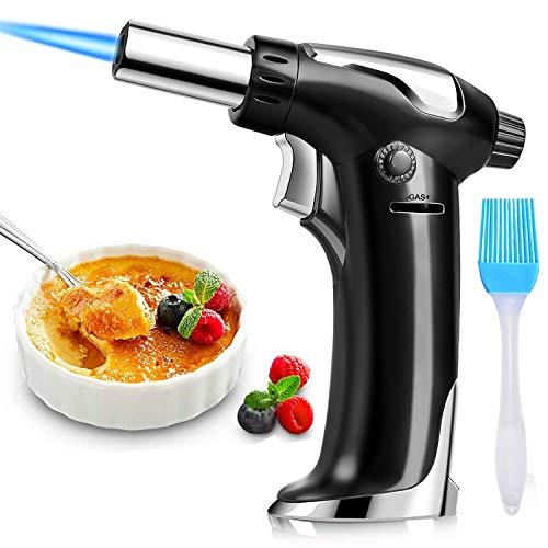 DYD Küchenbrenne Flambierbrenner, Nachfüllbar Butan Gasbrenner mit Sicherheitsschloss für die Küche Home Creme Brulee Gebäck Desserts Camping (Butan Inbegriffen Nicht) (Schwarz)