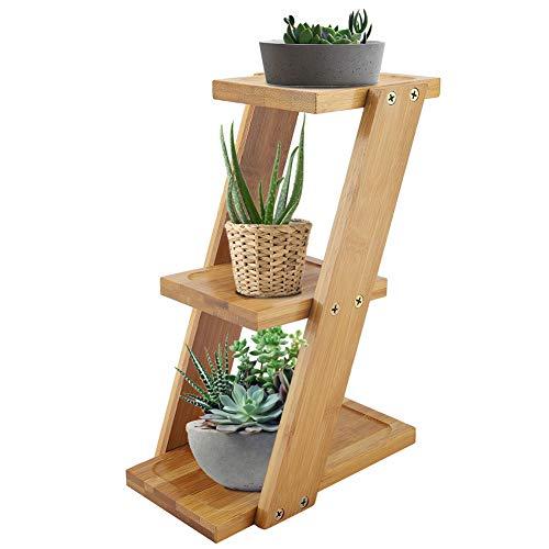SOONHUA Mini Soporte de Flores de Plantas de Bambú Estante de Escalera de Exhibición de Plantas de 3 Niveles Estante de Almacenamiento de Macetas Soporte de Unidad de Estantería para Decoración de Uso
