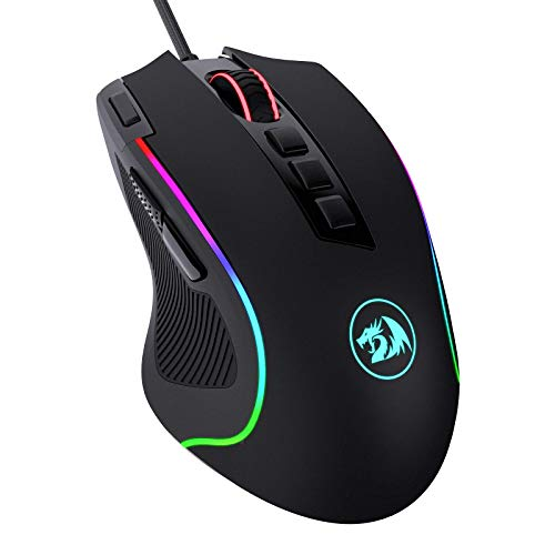 Redragon M612 Predator RGB Gaming Mouse, 8000 DPI Wired Optical Gamer Mouse with 11 Programmable Buttons & 5 Backlit Modes, Software Supports DIY Keybinds Rapid Fire Button (Renewed)