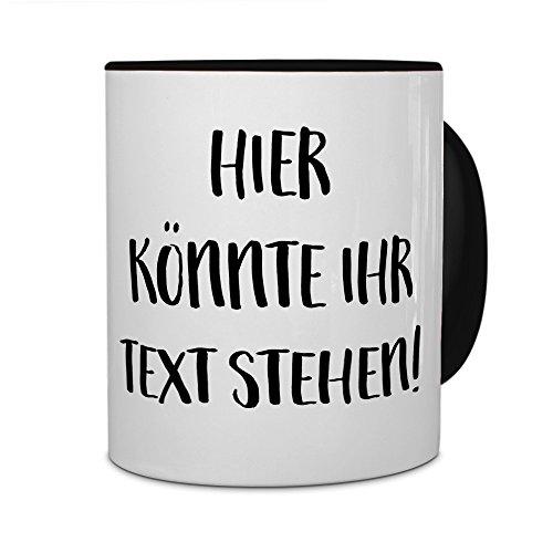 printplanet® - Tasse mit eigenem Text Bedrucken Lassen - Kaffeebecher mit Wunschtext oder Spruch Personalisieren - Becher Schwarz